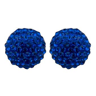 Butler  and  Wilson Large Sapphire Blue Crystal Stud Earrings