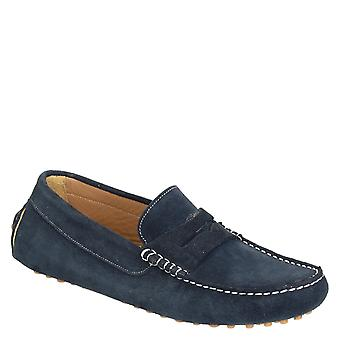 Blue suede driving moccasins for men handmade in Italy