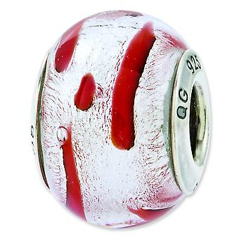 Sterling Silver Polished Antique finish Italian Murano Glass Reflections Silver Red Italian Murano Bead Charm
