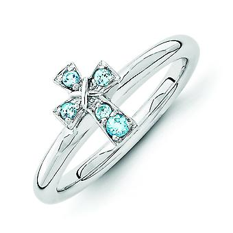 2.25mm Sterling Silver Stackable Expressions Rhodium Blue Topaz Cross Ring - Ring Size: 5 to 10