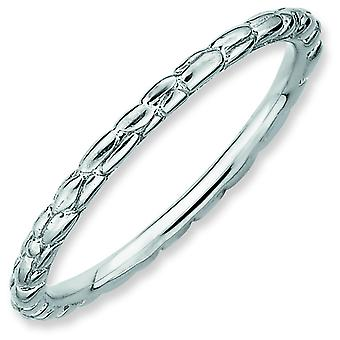 Sterling Silver Stackable Expressions Rhodium Twisted Ring - Ring Size: 5 to 10