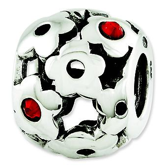 Sterling Silver Polished Antique finish Reflections Red Crystal Flowers Bead Charm
