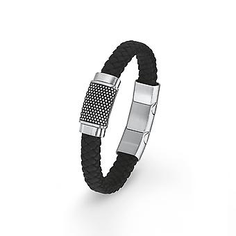 s.Oliver jewel mens bracelet stainless steel leather black 2015054