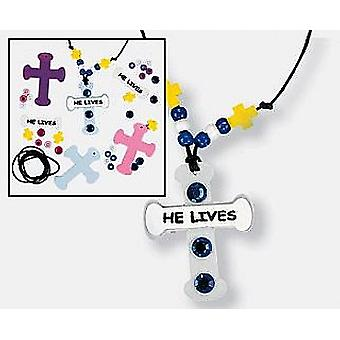 12 'He Lives' Christian Easter Necklace Craft Kits | Sunday School Messy Church