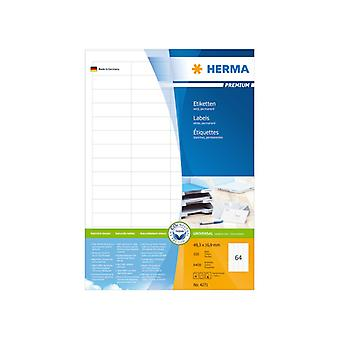 Labels white 48, 3 x 16, 9 Herma Premium A4 6400 pcs.