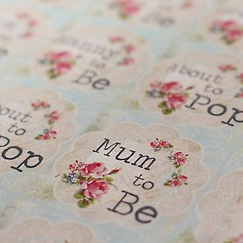 Floral Doily Baby Shower Sticker Sheet - 35 Stickers Mum To Be,  About To Pop