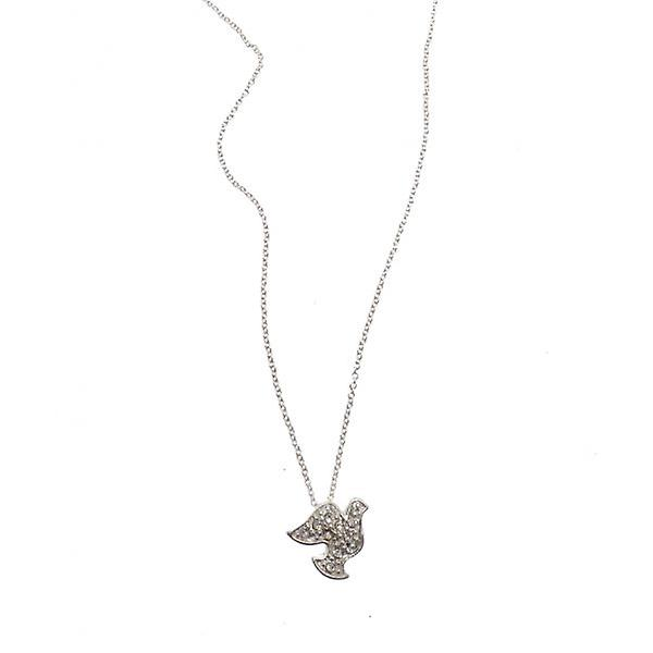 W.A.T Silver Style Dove Friendship  Necklace