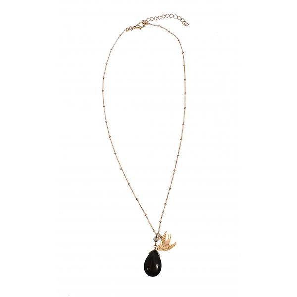 W.A.T Gold Style Swallow Pendant With Black Teardrop Semi Precious Stone