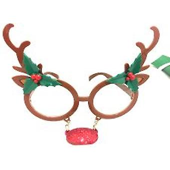 Reindeer Glasses with Attached Red Nose