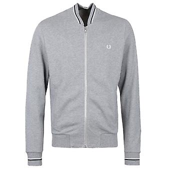 Fred Perry acier Marl Twin Tipped Jersey Bomber Jacket