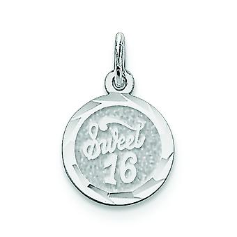 Sterling sølv Solid fasetterte Engravable søt seksten plate sjarm -.7 gram