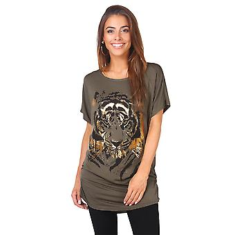 KRISP  KRISP Womens Oversized Baggy Batwing Animal Print T-Shirt Ladies Long Tunic Top