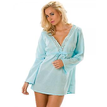 Camille Blue Cheesecloth Womens Cotton Broderie Anglaise Kaftan