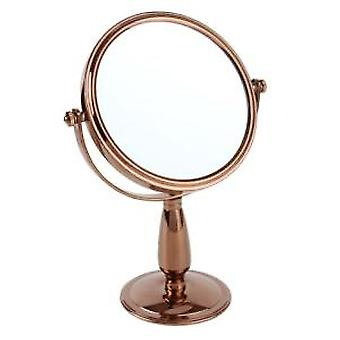 7x Magnification Rose Gold Pedestal Mirror