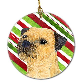 Border Terrier Candy Cane Holiday Christmas Ceramic Ornament LH9233