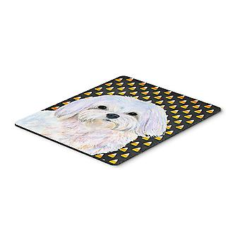 Maltese Candy Corn Halloween Portrait Mouse Pad, Hot Pad or Trivet