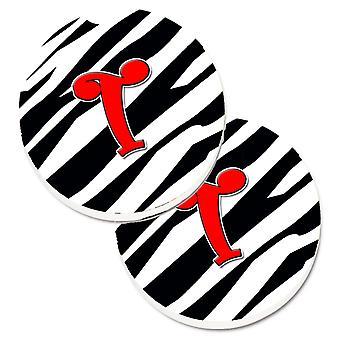 Schildersmonogram eerste T Zebra rood Set van 2 Cup houder auto onderzetters