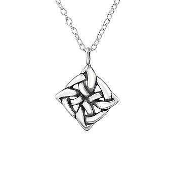 Vierkant Keltische knoop - 925 Sterling Zilver vlakte kettingen - W30872X