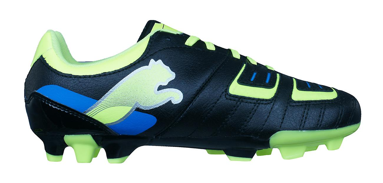 Puma PowerCat 3 FG Boys Leather Football Boots   Cleats - Black and Yellow  Chaussures d3921d85b48