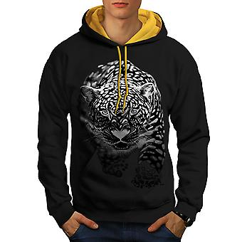 Cougar Puma Killer Men Black (Gold Hood)Contrast Hoodie | Wellcoda