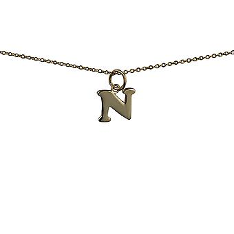 9ct Gold 11x10mm plain Initial N Pendant with a cable Chain 16 inches Only Suitable for Children