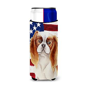 Cavalier Spaniel Patriotic Michelob Ultra Hugger for slim cans