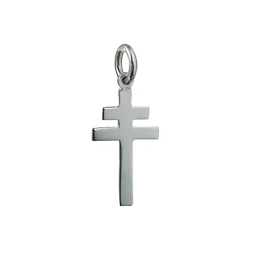 Silver 20x17mm plain Cross of Lorraine