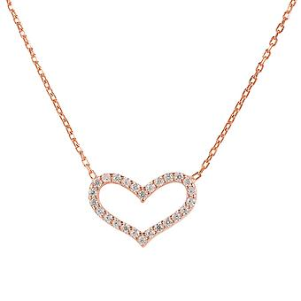 Latelita 925 Sterling Silver Love Heart Delicate Necklace Rose Gold CZ Romantic
