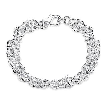 Womens Mesdames complexe chaîne plaqué argent Bracelet avec fermoir proches