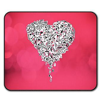 Любовь сердце скольжения мыши коврик коврик 24 см х 20 см   Wellcoda