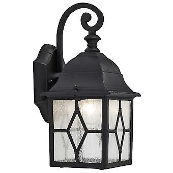 Traditional Outdoor Matt Black Wall Lantern Light with Cathedral Lead Glass