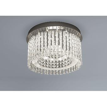 LED ceiling lamp Aurora round K5 glass crystals Ø 37 cm 18W 4000 K chrome 10734
