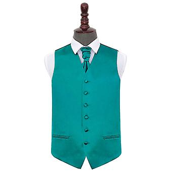 Teal Plain Satin Wedding Waistcoat & Cravat Set