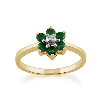 9ct Yellow Gold 0.44ct Natural Emerald & Diamond Floral Cluster Ring