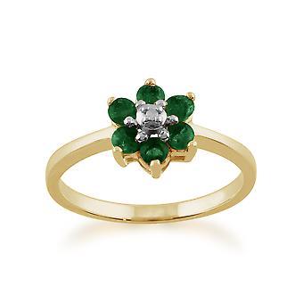 9ct gelb Gold 0,44 ct natürliche Smaragd & Floral Cluster Diamantring