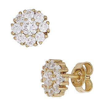 Studs boutons 375 gold yellow gold 18 cubic zirconia earrings gold