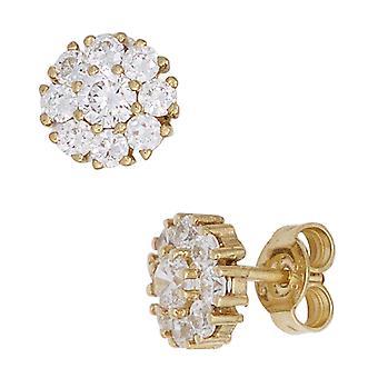 ترصيع boutons 375 الذهب الذهب الأصفر 18 مكعب الزركونيا أقراط الذهب