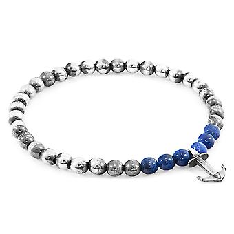 Anchor & Crew Blue Sodalite Keel Silver and Stone Bracelet