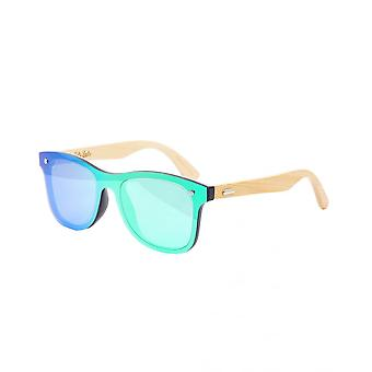Colin Leslie Unisex Retro Sunglasses Bamboo Arms With Green Lenses