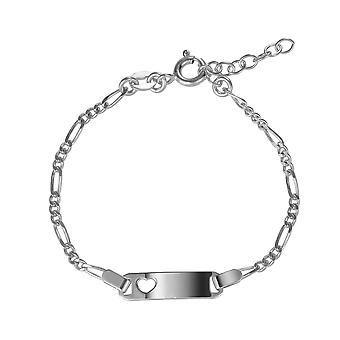 Orphelia 925 Silver Kids ID Bracelet with Cut Out Heart 14,5 CM  ZA-7457