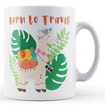 Född till resa! Backpacking Llama - tryckt mugg