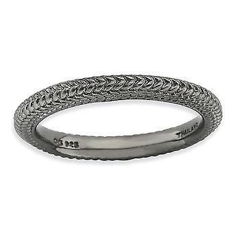 2,5 mm Sterlingsilber polierte gemusterte gewölbte Band Ruthenium-Beschichtung stapelbar Ausdrücke schwarz verchromt gewölbt Ring - Ri