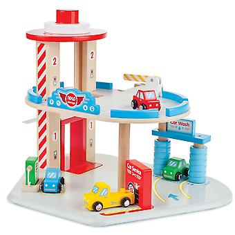 Tidlo Wooden Car Garage Play Set Activity Centre Petrol Station Kids Children