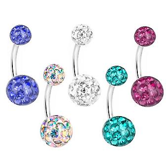 Belly Bar Banana Navel Piercing,Multi Crystal Balls | 8-12mm | Different Colours