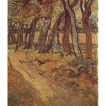 The Garden of Saint-Paul Hospital with Figure, Vincent Van Gogh, 61x50cm