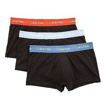 Calvin Klein Cotton Stretch 3 Pack Low Rise Trunk, Black With Orange / Blue / Sky Blue, X-Large