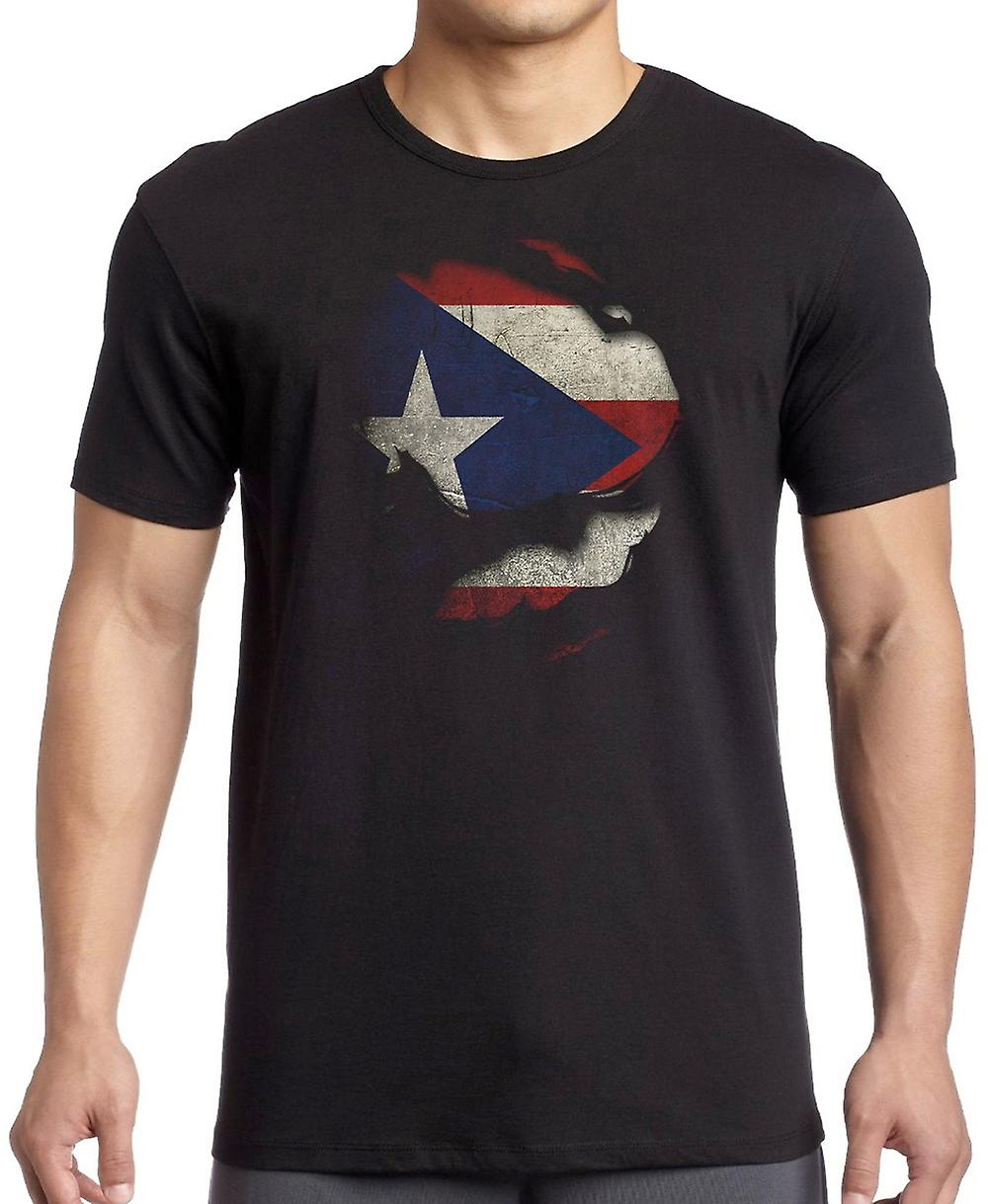 Puerto Rico Ripped Effect Under Shirt T Shirt