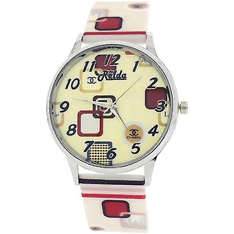 Relda Ladies Analogue Beige Dial Retro Silicone Colourful Strap Watch REL101