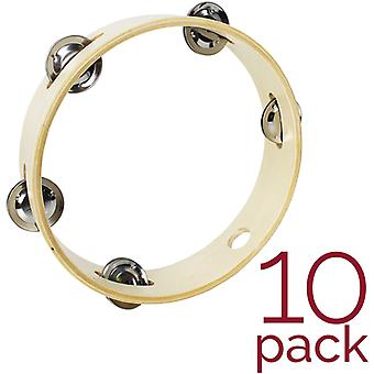 A-Star Pack of 10 Headless Tambourines - 8 inch