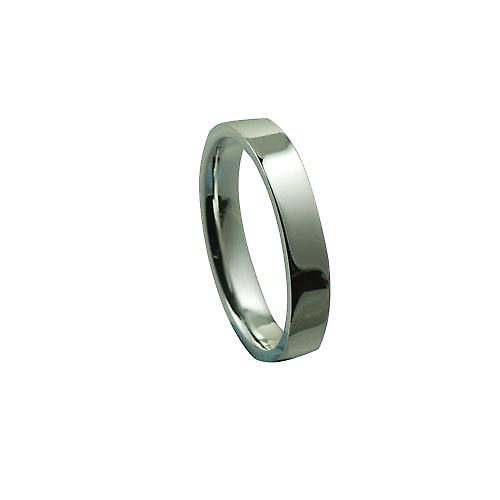 Silver 4mm plain flat Court Wedding Ring Size Z